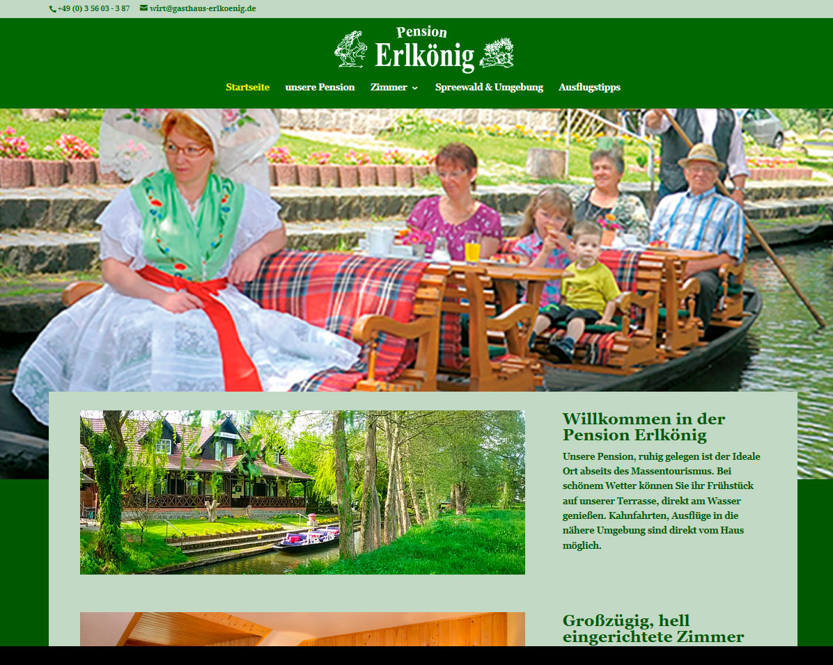 Website des Gasthaus Erlkönig in Burg, responsives Design