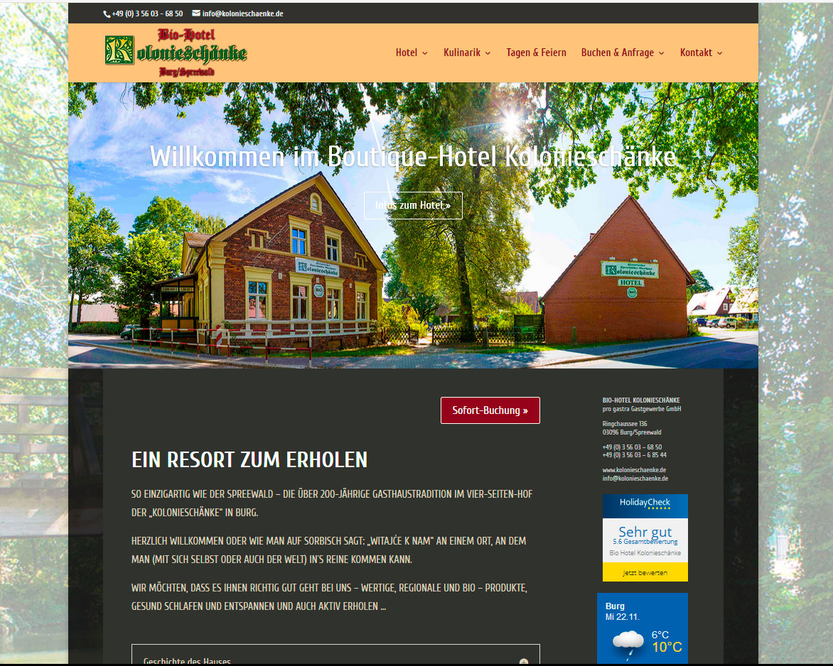 Website des BIO-Hotel Kolonieschänke in Burg, responsives Design